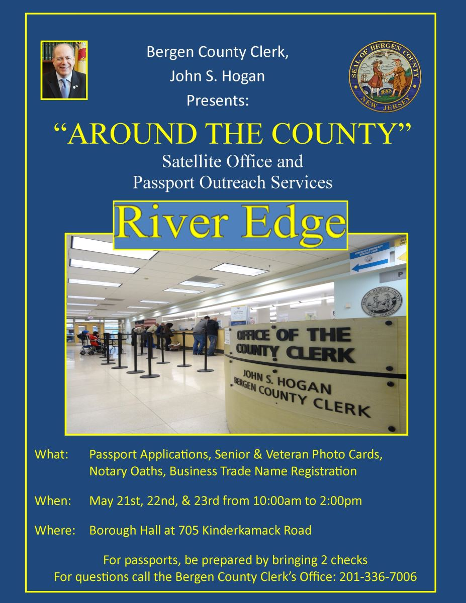 Bergen County Map, Bergen County Clerk Satellite Office Is In River Edge, Bergen County Map