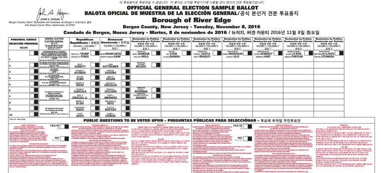 Bergen County Clerk Sample Ballots